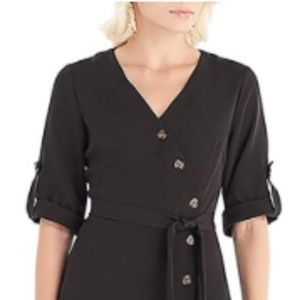 women's Knee-Length Wrap Dress with Button Closure